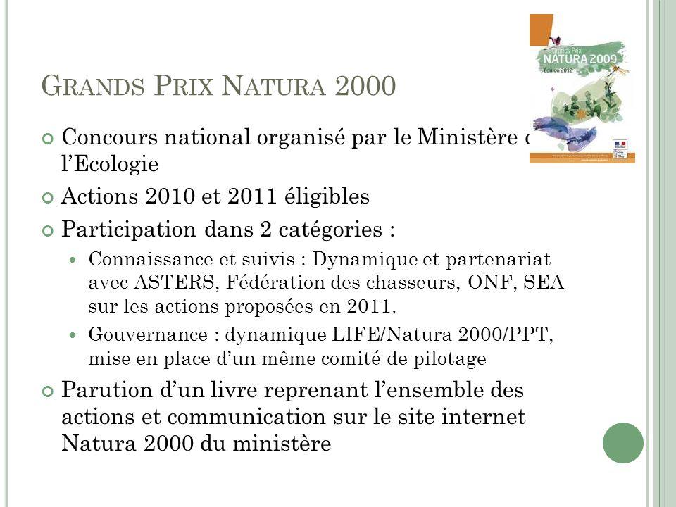 G RANDS P RIX N ATURA 2000 Concours national organisé par le Ministère de lEcologie Actions 2010 et 2011 éligibles Participation dans 2 catégories : C