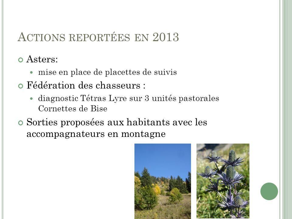 A CTIONS REPORTÉES EN 2013 Asters: mise en place de placettes de suivis Fédération des chasseurs : diagnostic Tétras Lyre sur 3 unités pastorales Corn