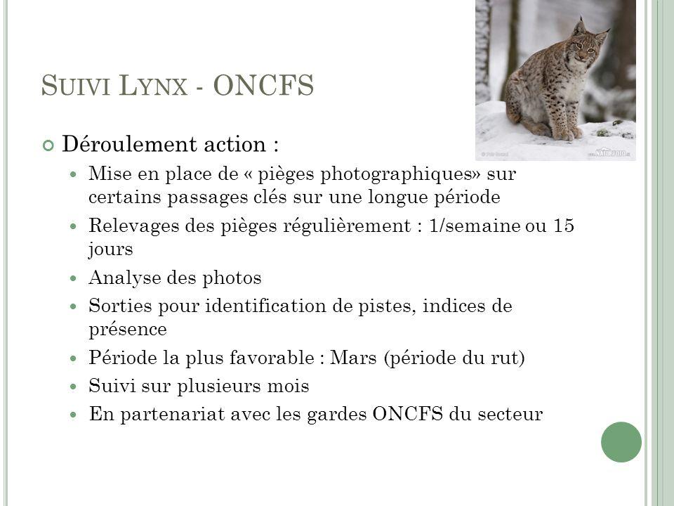 S UIVI L YNX - ONCFS Déroulement action : Mise en place de « pièges photographiques» sur certains passages clés sur une longue période Relevages des p