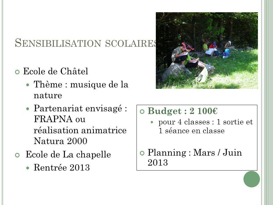 S ENSIBILISATION SCOLAIRES Ecole de Châtel Thème : musique de la nature Partenariat envisagé : FRAPNA ou réalisation animatrice Natura 2000 Ecole de L