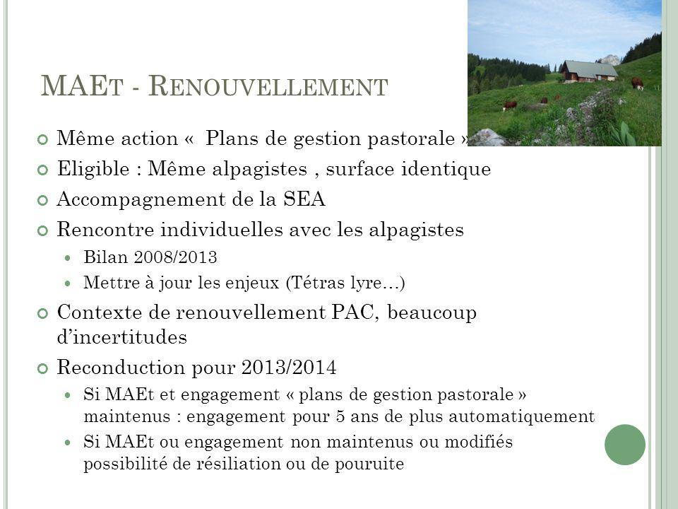 MAE T - R ENOUVELLEMENT Même action « Plans de gestion pastorale » Eligible : Même alpagistes, surface identique Accompagnement de la SEA Rencontre in