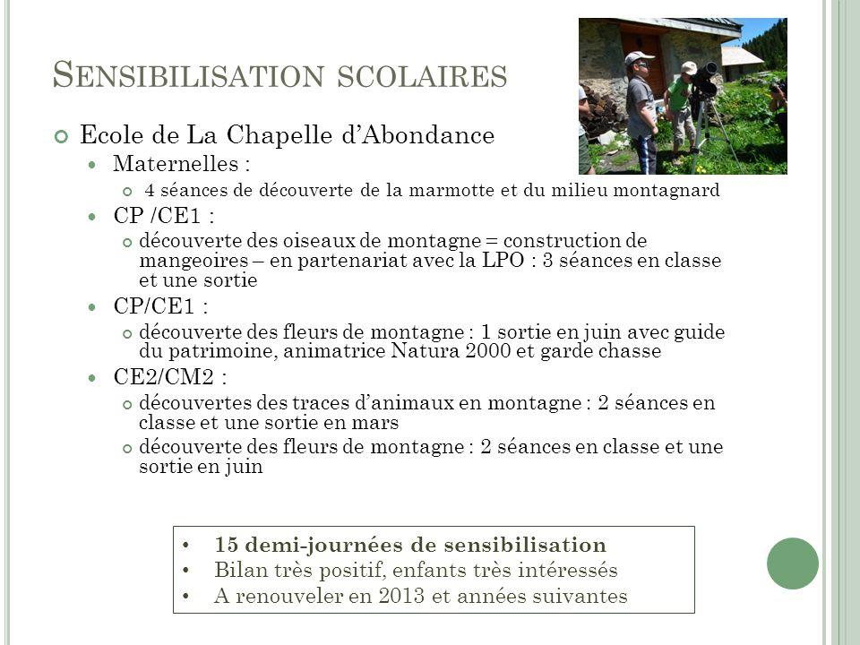 S ENSIBILISATION SCOLAIRES Ecole de La Chapelle dAbondance Maternelles : 4 séances de découverte de la marmotte et du milieu montagnard CP /CE1 : déco