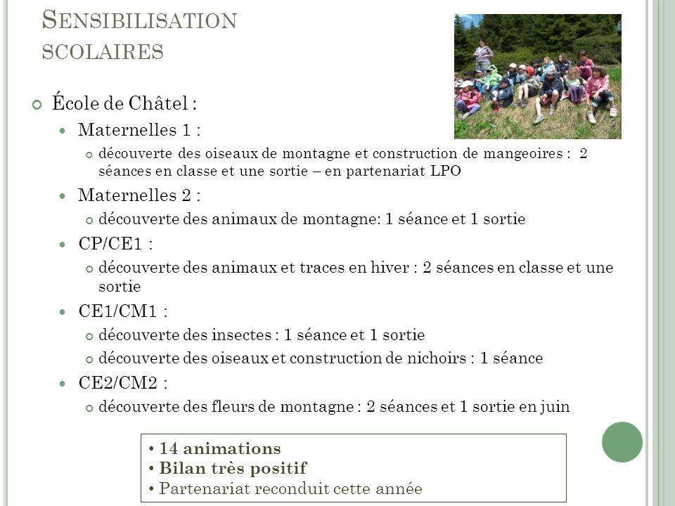 S ENSIBILISATION SCOLAIRES École de Châtel : Maternelles 1 : découverte des oiseaux de montagne et construction de mangeoires : 2 séances en classe et