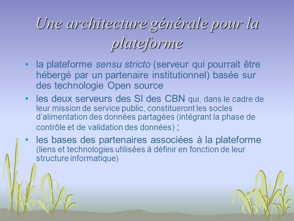 Une architecture générale pour la plateforme la plateforme sensu stricto (serveur qui pourrait être hébergé par un partenaire institutionnel) basée su