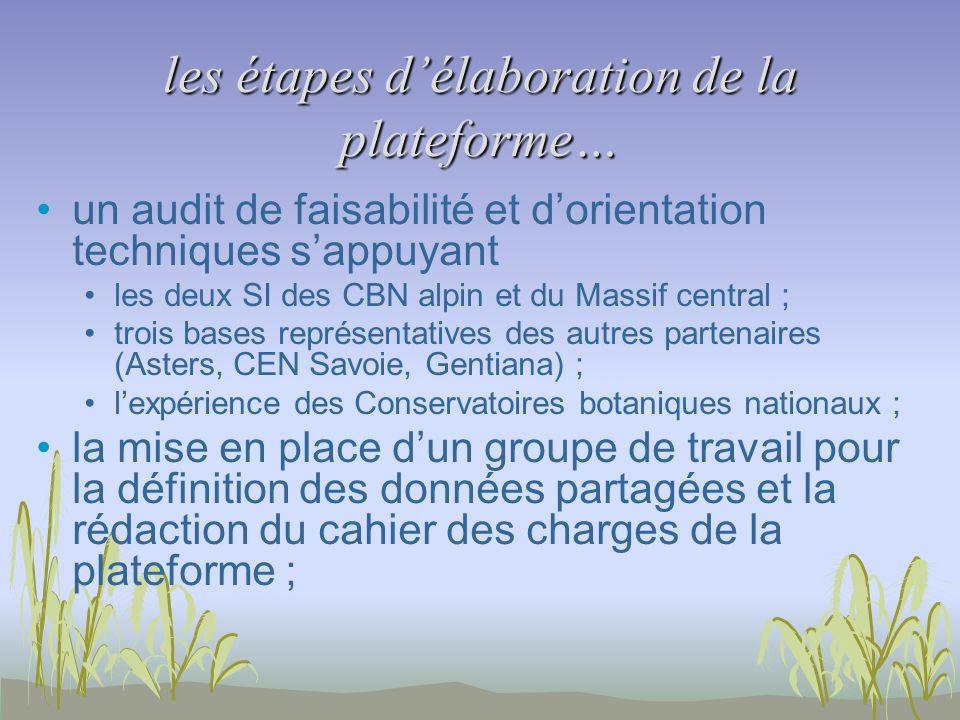 les étapes délaboration de la plateforme… un audit de faisabilité et dorientation techniques sappuyant les deux SI des CBN alpin et du Massif central