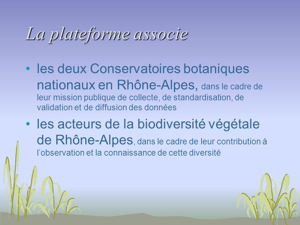 La plateforme associe les deux Conservatoires botaniques nationaux en Rhône-Alpes, dans le cadre de leur mission publique de collecte, de standardisat