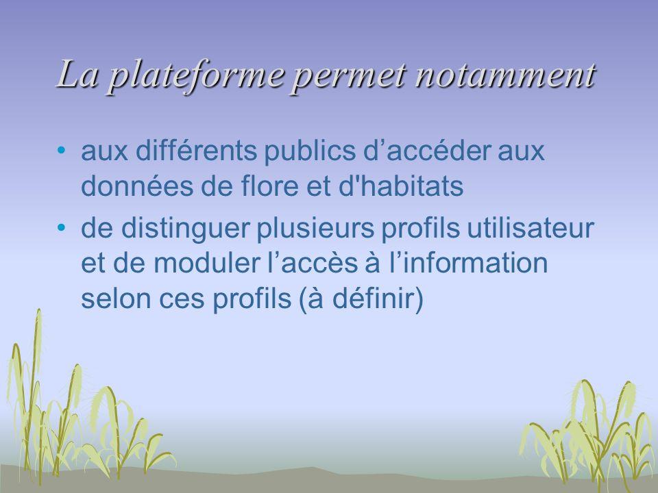 La plateforme permet notamment aux différents publics daccéder aux données de flore et d'habitats de distinguer plusieurs profils utilisateur et de mo