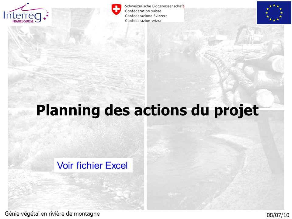 08/07/10 Génie végétal en rivière de montagne Planning des actions du projet Voir fichier Excel