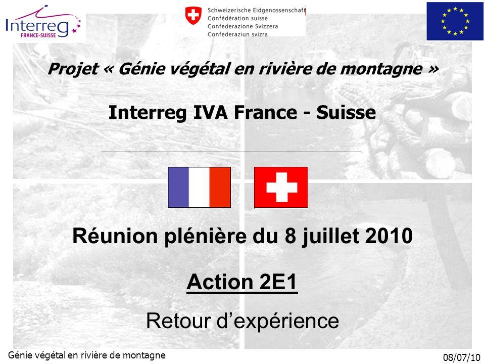 08/07/10 Génie végétal en rivière de montagne Projet « Génie végétal en rivière de montagne » Interreg IVA France - Suisse Réunion plénière du 8 juillet 2010 Action 2E1 Retour dexpérience