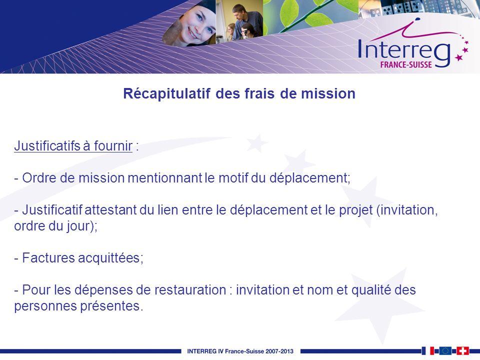 Justificatifs à fournir : - Ordre de mission mentionnant le motif du déplacement; - Justificatif attestant du lien entre le déplacement et le projet (