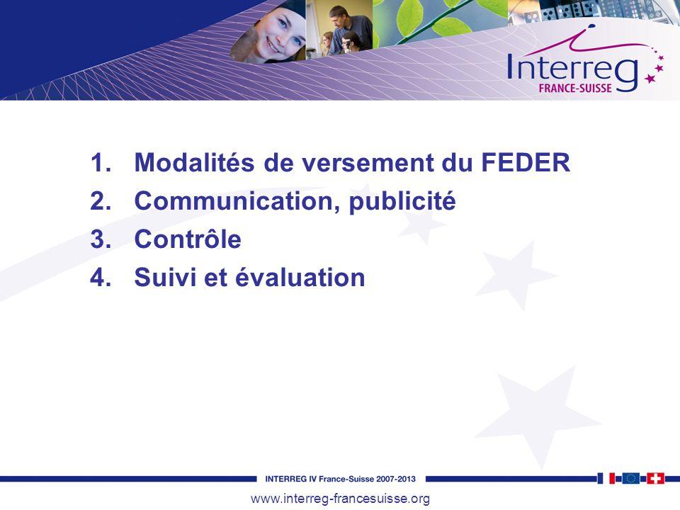 1.Modalités de versement du FEDER 2.Communication, publicité 3.Contrôle 4.Suivi et évaluation www.interreg-francesuisse.org