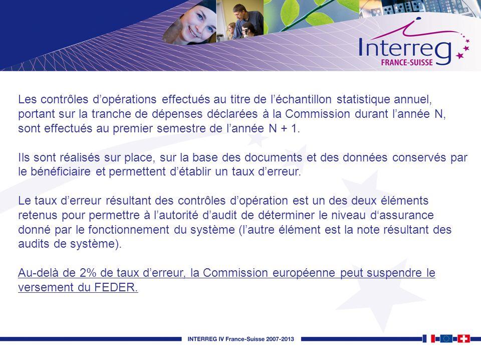 Les contrôles dopérations effectués au titre de léchantillon statistique annuel, portant sur la tranche de dépenses déclarées à la Commission durant l