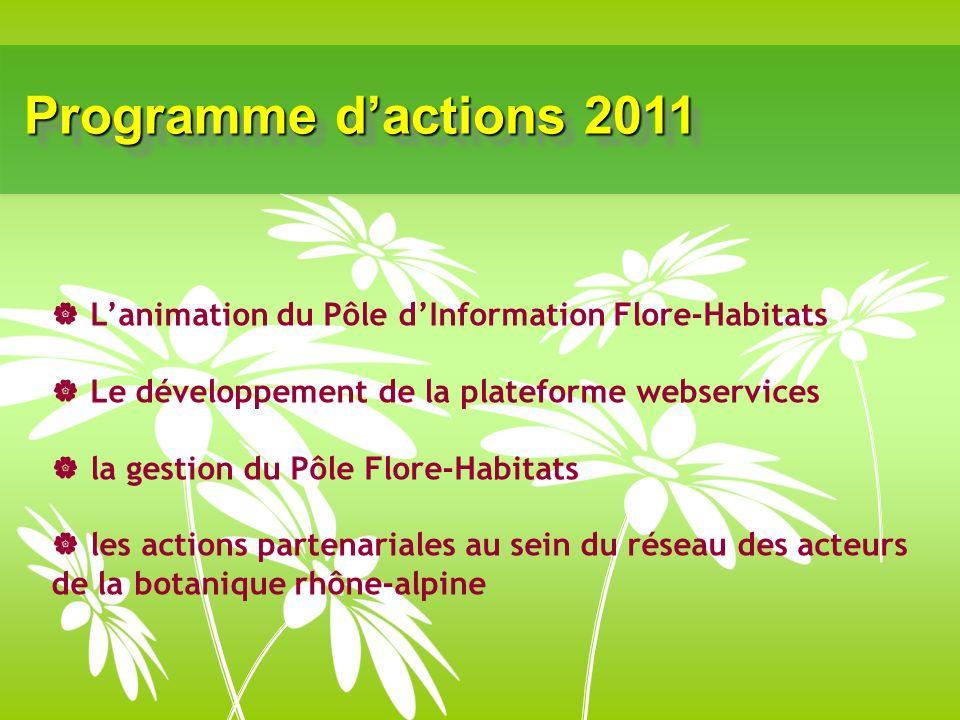 Programme dactions 2011 Lanimation du Pôle dInformation Flore-Habitats Le développement de la plateforme webservices la gestion du Pôle Flore-Habitats