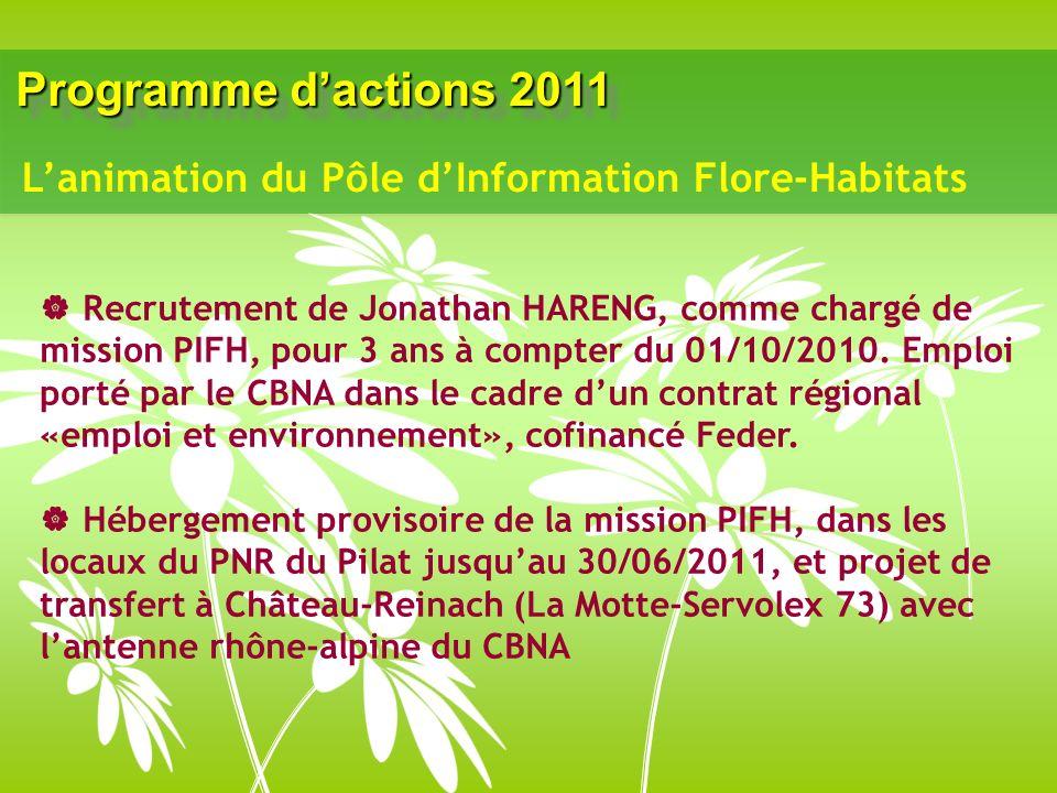 Programme dactions 2011 Recrutement de Jonathan HARENG, comme chargé de mission PIFH, pour 3 ans à compter du 01/10/2010. Emploi porté par le CBNA dan