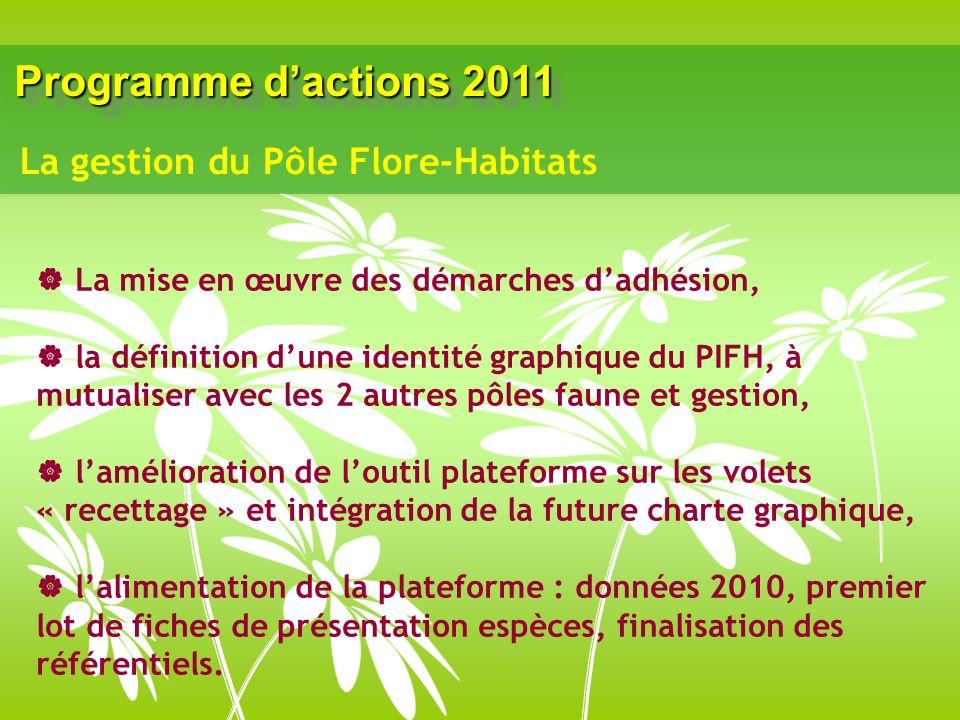 Programme dactions 2011 La mise en œuvre des démarches dadhésion, la définition dune identité graphique du PIFH, à mutualiser avec les 2 autres pôles faune et gestion, lamélioration de loutil plateforme sur les volets « recettage » et intégration de la future charte graphique, lalimentation de la plateforme : données 2010, premier lot de fiches de présentation espèces, finalisation des référentiels.