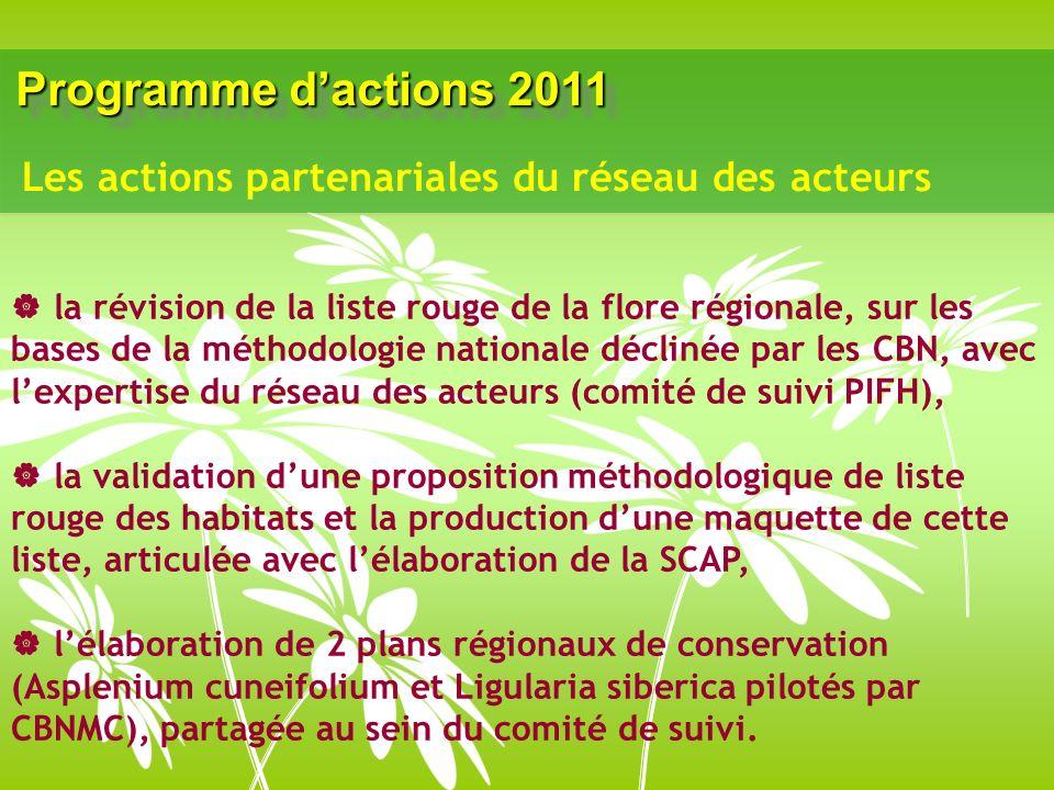Programme dactions 2011 la révision de la liste rouge de la flore régionale, sur les bases de la méthodologie nationale déclinée par les CBN, avec lex