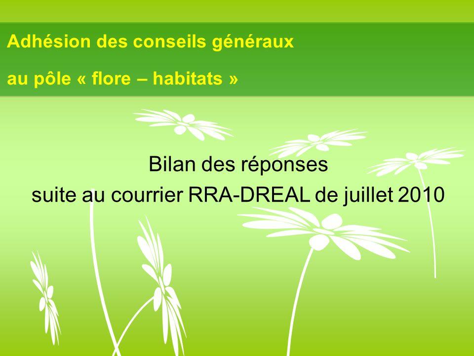 Adhésion des conseils généraux au pôle « flore – habitats » Bilan des réponses suite au courrier RRA-DREAL de juillet 2010