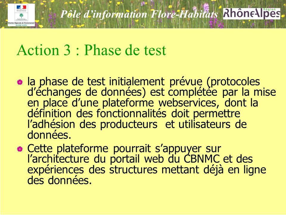 Action 3 : Phase de test la phase de test initialement prévue (protocoles déchanges de données) est complétée par la mise en place dune plateforme webservices, dont la définition des fonctionnalités doit permettre ladhésion des producteurs et utilisateurs de données.