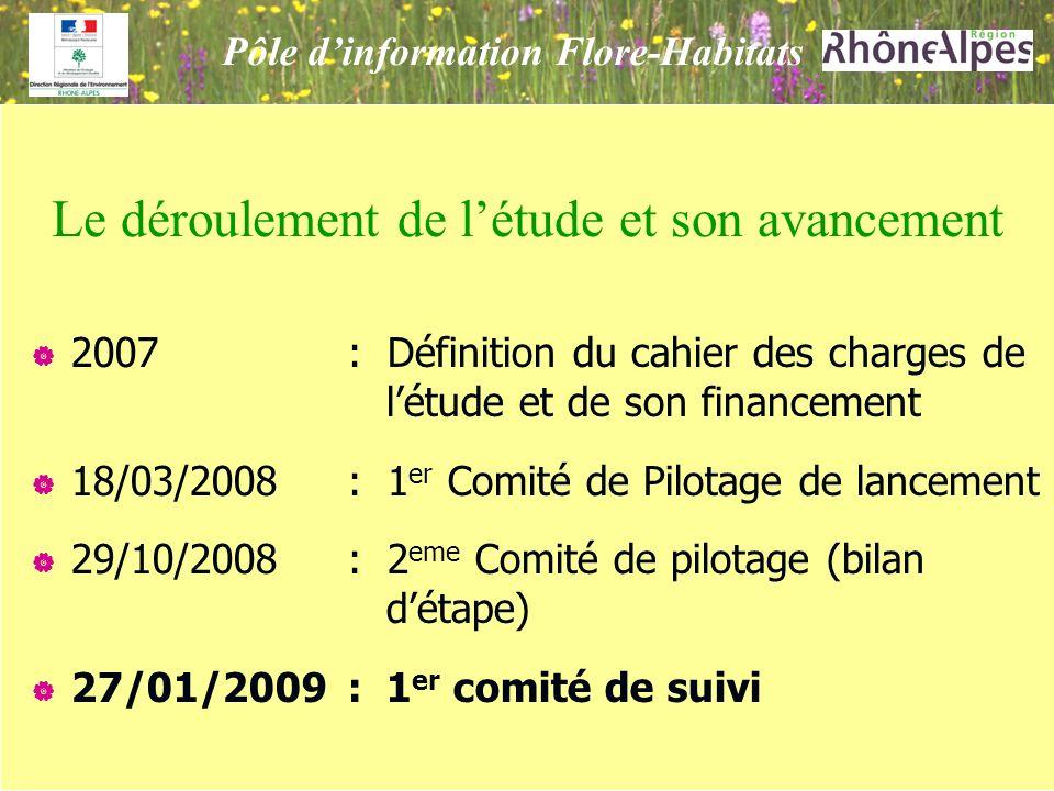 2007: Définition du cahier des charges de létude et de son financement 18/03/2008: 1 er Comité de Pilotage de lancement 29/10/2008: 2 eme Comité de pilotage (bilan détape) 27/01/2009: 1 er comité de suivi Le déroulement de létude et son avancement Pôle dinformation Flore-Habitats