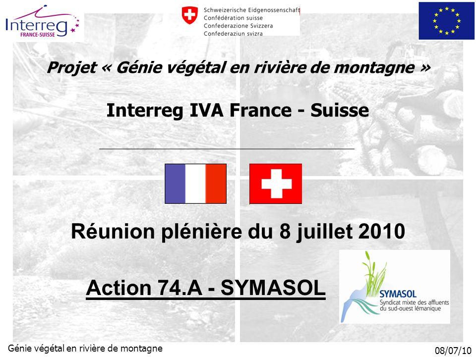 08/07/10 Génie végétal en rivière de montagne Projet « Génie végétal en rivière de montagne » Interreg IVA France - Suisse Réunion plénière du 8 juillet 2010 Action 74.A - SYMASOL
