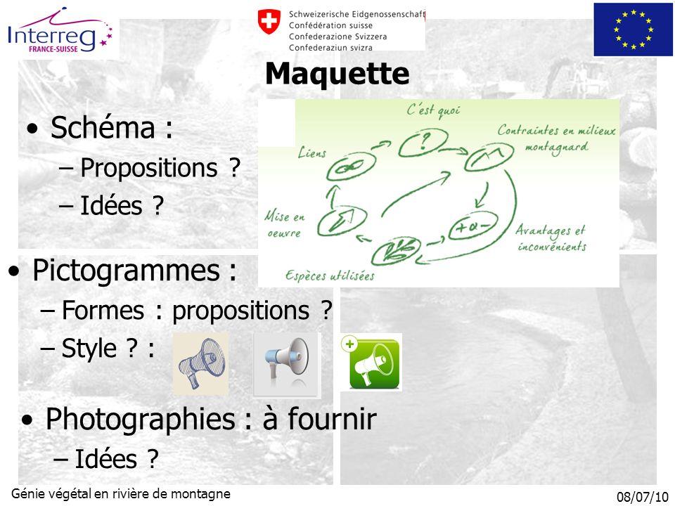 08/07/10 Génie végétal en rivière de montagne Maquette Schéma : –Propositions .