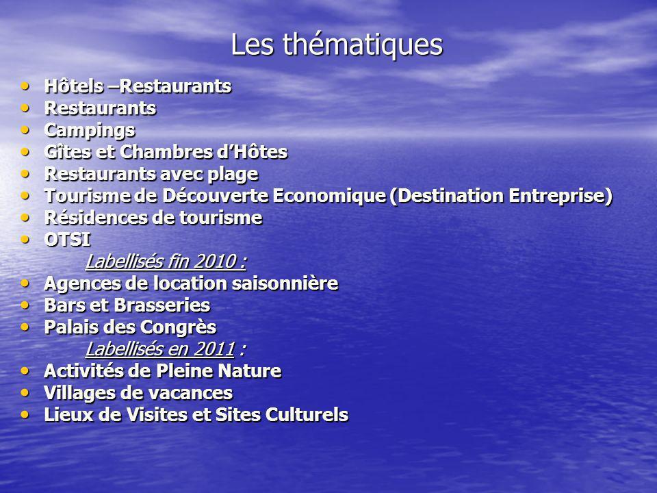 Les thématiques Hôtels –Restaurants Hôtels –Restaurants Restaurants Restaurants Campings Campings Gîtes et Chambres dHôtes Gîtes et Chambres dHôtes Re