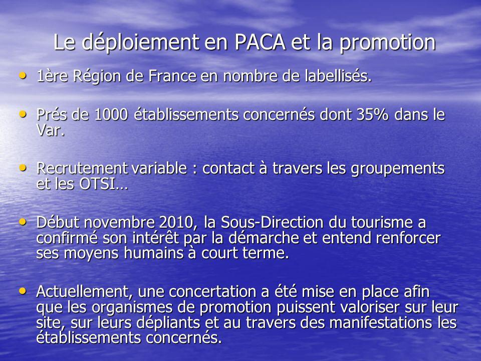Le déploiement en PACA et la promotion 1ère Région de France en nombre de labellisés. 1ère Région de France en nombre de labellisés. Prés de 1000 étab