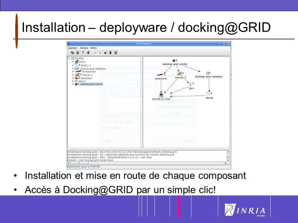 Installation – deployware / docking@GRID Installation et mise en route de chaque composant Accès à Docking@GRID par un simple clic!