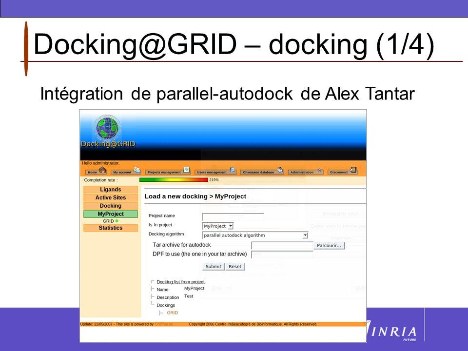 Docking@GRID – docking (2/4) Docking version avancée : Possibilité dutiliser la fonction dénergie dAutodock