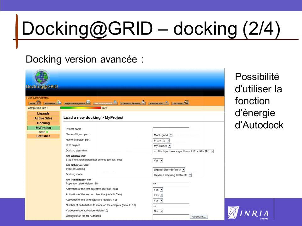 Docking@GRID – docking (3/4) En cours : visualisation UCSF CHIMERA : Visualisation dans Chimera des meilleurs individus (couples protéine-ligand) toutes les dix générations.