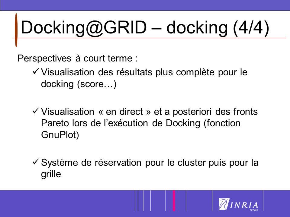 Docking@GRID – docking (4/4) Perspectives à court terme : Visualisation des résultats plus complète pour le docking (score…) Visualisation « en direct » et a posteriori des fronts Pareto lors de lexécution de Docking (fonction GnuPlot) Système de réservation pour le cluster puis pour la grille