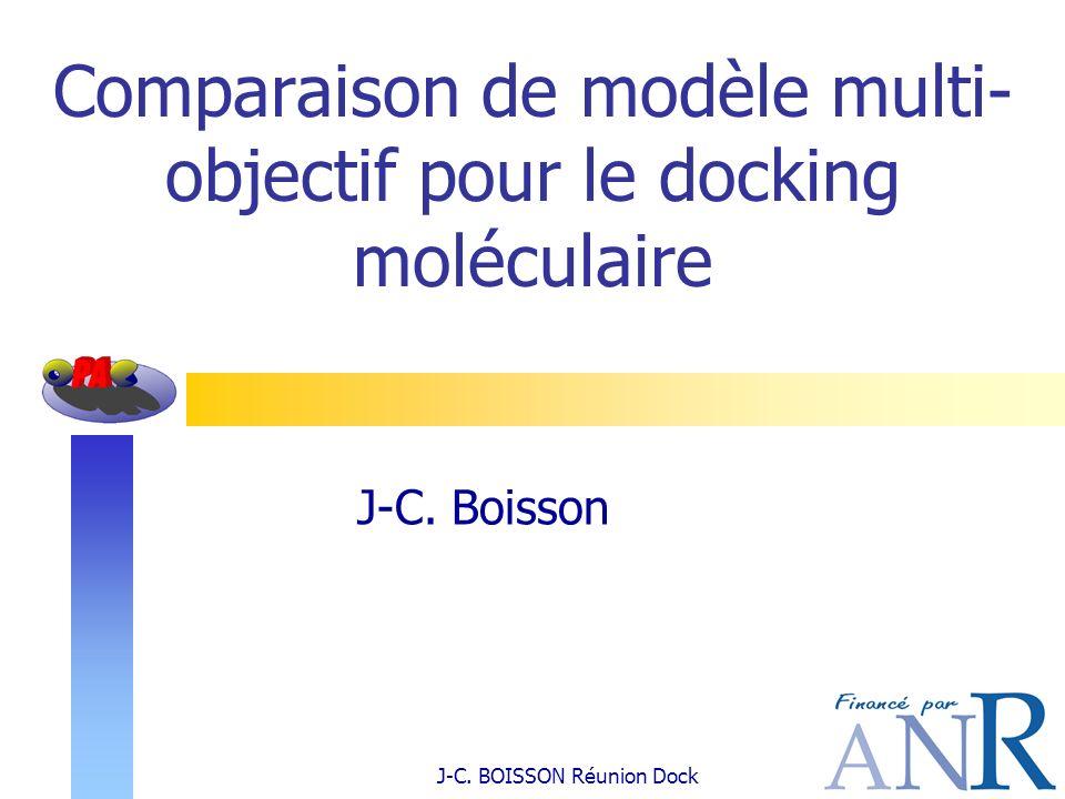 Comparaison de modèle multi- objectif pour le docking moléculaire J-C. Boisson J-C. BOISSON Réunion Dock