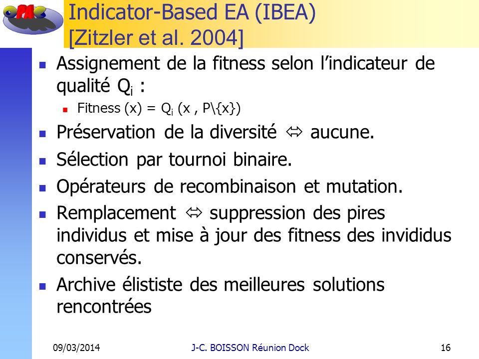 Indicator-Based EA (IBEA) [Zitzler et al. 2004] Assignement de la fitness selon lindicateur de qualité Q i : Fitness (x) = Q i (x, P\{x}) Préservation