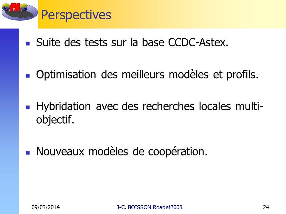 Perspectives Suite des tests sur la base CCDC-Astex. Optimisation des meilleurs modèles et profils. Hybridation avec des recherches locales multi- obj