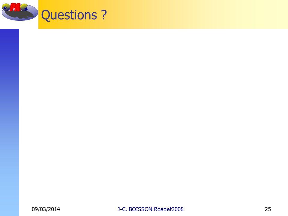 Questions ? 09/03/2014J-C. BOISSON Roadef200825