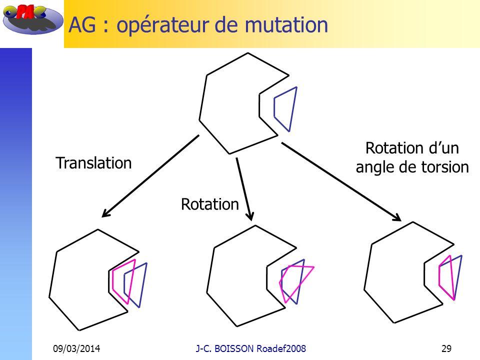 AG : opérateur de mutation 09/03/2014J-C. BOISSON Roadef200829 Translation Rotation Rotation dun angle de torsion