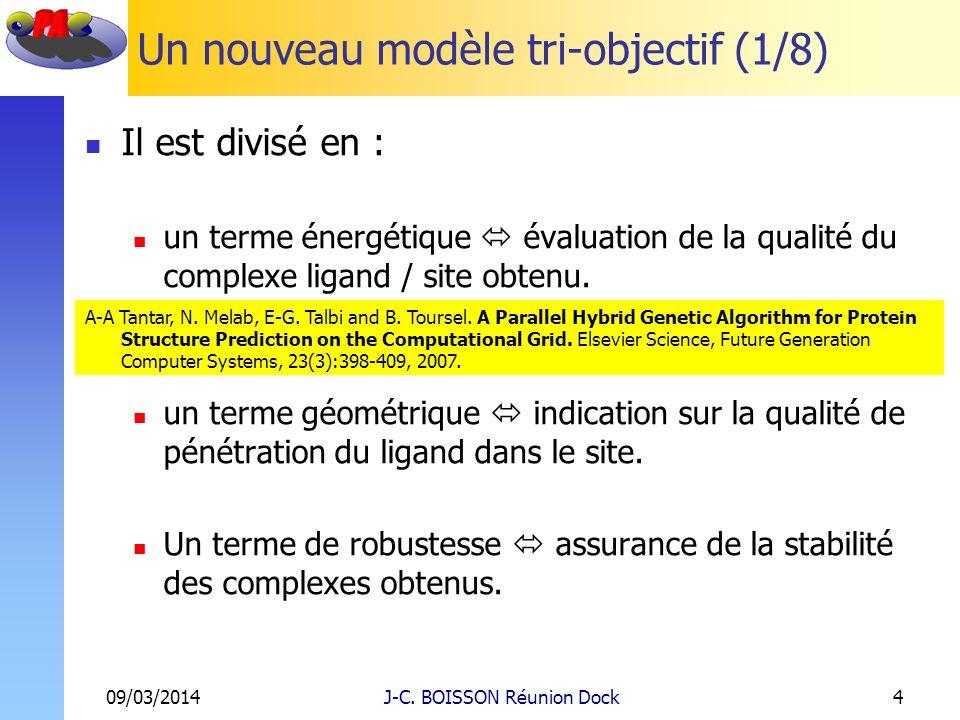Un nouveau modèle tri-objectif (1/8) Il est divisé en : un terme énergétique évaluation de la qualité du complexe ligand / site obtenu. un terme géomé
