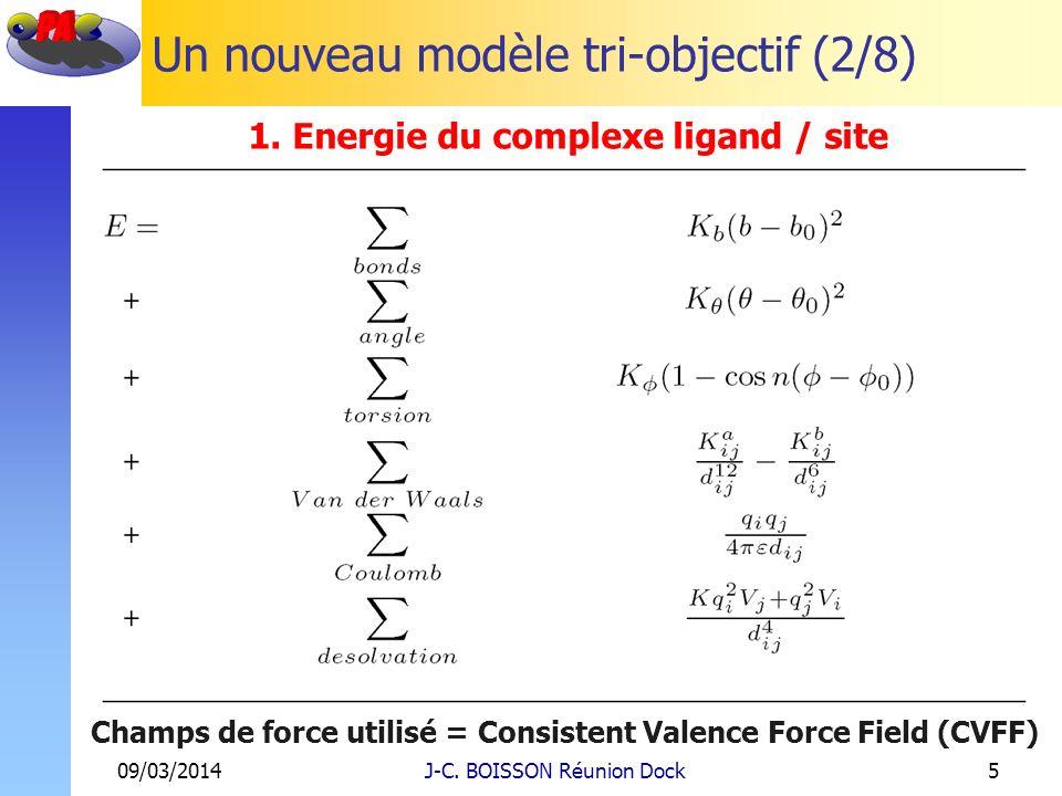 Un nouveau modèle tri-objectif (2/8) 09/03/2014J-C. BOISSON Réunion Dock5 1. Energie du complexe ligand / site Champs de force utilisé = Consistent Va