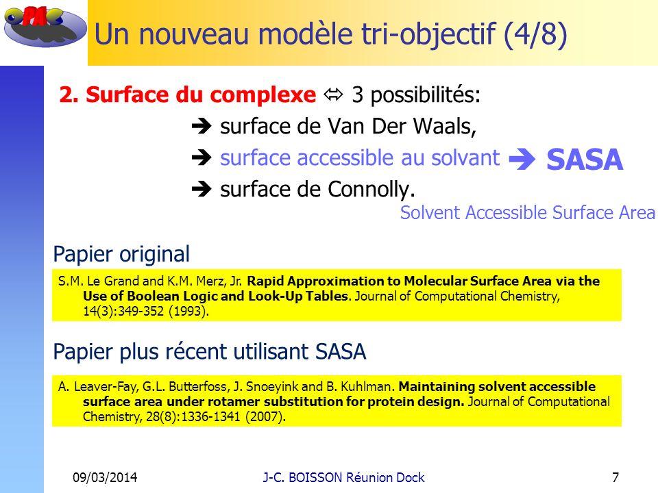 Un nouveau modèle tri-objectif (4/8) 2. Surface du complexe 3 possibilités: surface de Van Der Waals, surface accessible au solvant surface de Connoll