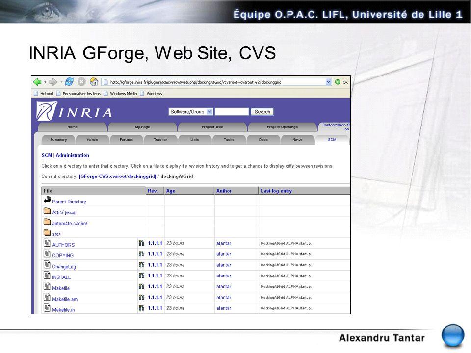 INRIA GForge, Web Site, CVS