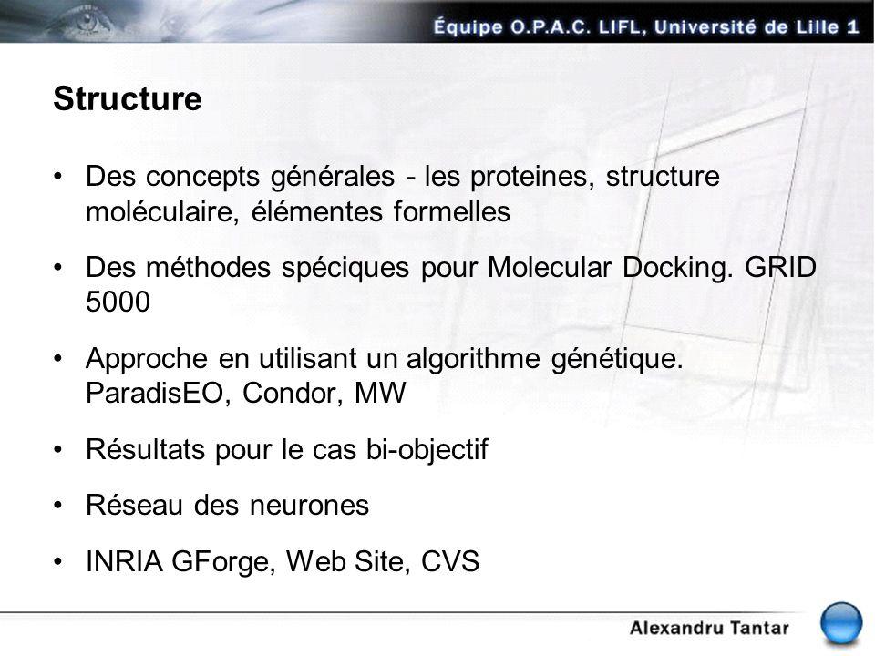 Structure Des concepts générales - les proteines, structure moléculaire, élémentes formelles Des méthodes spéciques pour Molecular Docking. GRID 5000