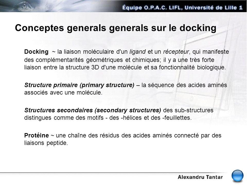 Conceptes generals generals sur le docking Docking ~ la liaison moléculaire d'un ligand et un récepteur, qui manifeste des complémentarités géométriqu