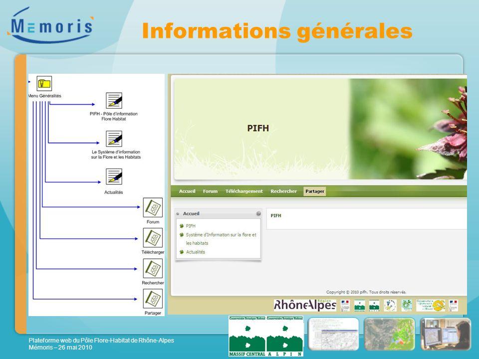 Plateforme web du Pôle Flore-Habitat de Rhône-Alpes Mémoris – 26 mai 2010 Informations générales