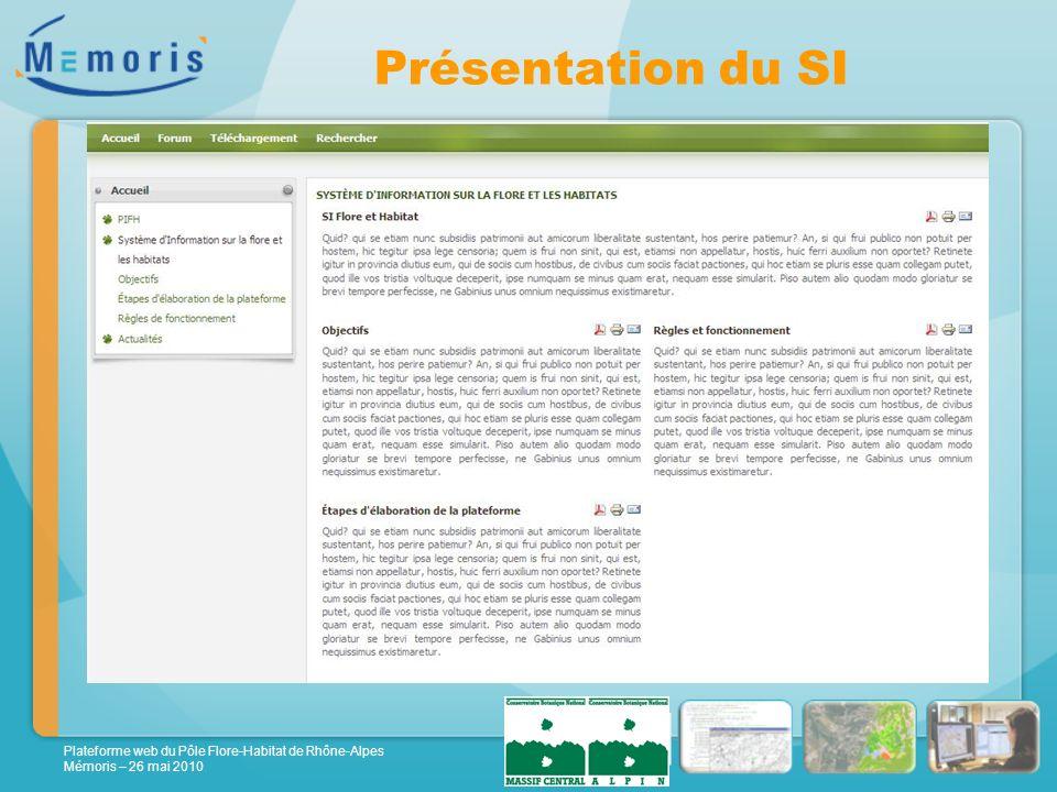 Plateforme web du Pôle Flore-Habitat de Rhône-Alpes Mémoris – 26 mai 2010 Présentation du SI