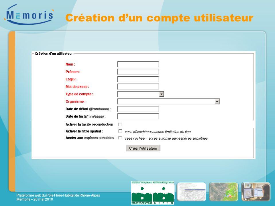 Plateforme web du Pôle Flore-Habitat de Rhône-Alpes Mémoris – 26 mai 2010 Création dun compte utilisateur