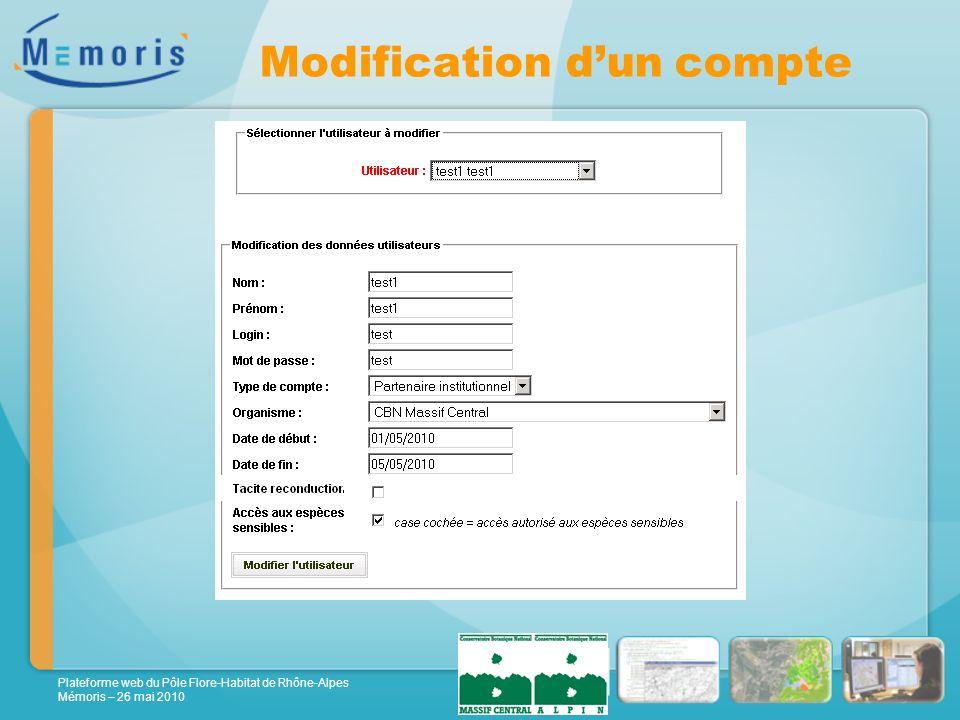 Plateforme web du Pôle Flore-Habitat de Rhône-Alpes Mémoris – 26 mai 2010 Modification dun compte