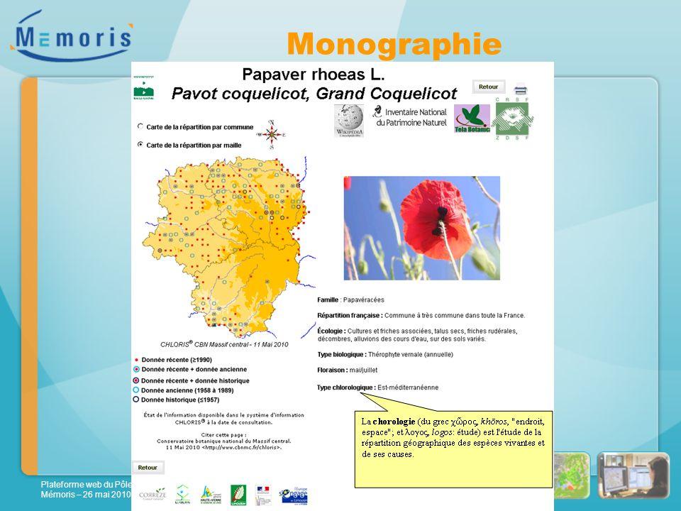 Plateforme web du Pôle Flore-Habitat de Rhône-Alpes Mémoris – 26 mai 2010 Monographie