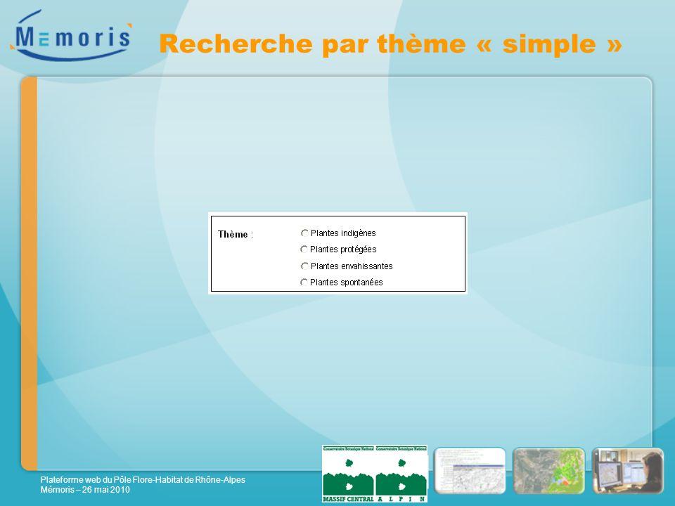 Plateforme web du Pôle Flore-Habitat de Rhône-Alpes Mémoris – 26 mai 2010 Recherche par thème « simple »