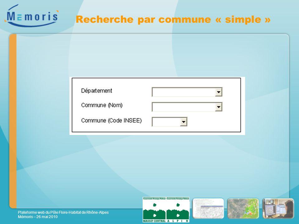 Plateforme web du Pôle Flore-Habitat de Rhône-Alpes Mémoris – 26 mai 2010 Recherche par commune « simple »