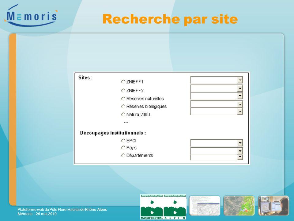 Plateforme web du Pôle Flore-Habitat de Rhône-Alpes Mémoris – 26 mai 2010 Recherche par site